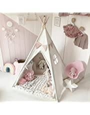 Tiny Land Kids Teepee Children Play Tent with Floor Mat & Carry Case for Indoor Outdoor, White Cotton Canvas 150 cm Tall