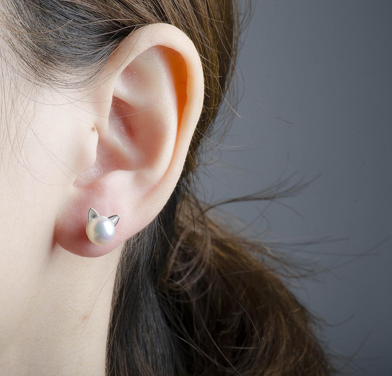 Amazon: Sleaf Cat Ear Stud Earrings Freshwater Cultured Pearl Stud  Earrings Sterling Silver Ear Studs: Jewelry