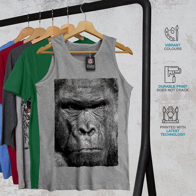 wellcoda Viso Animale Gorilla Foto Uomini Canotta Arrabbiato/Camicia Sportiva Attiva