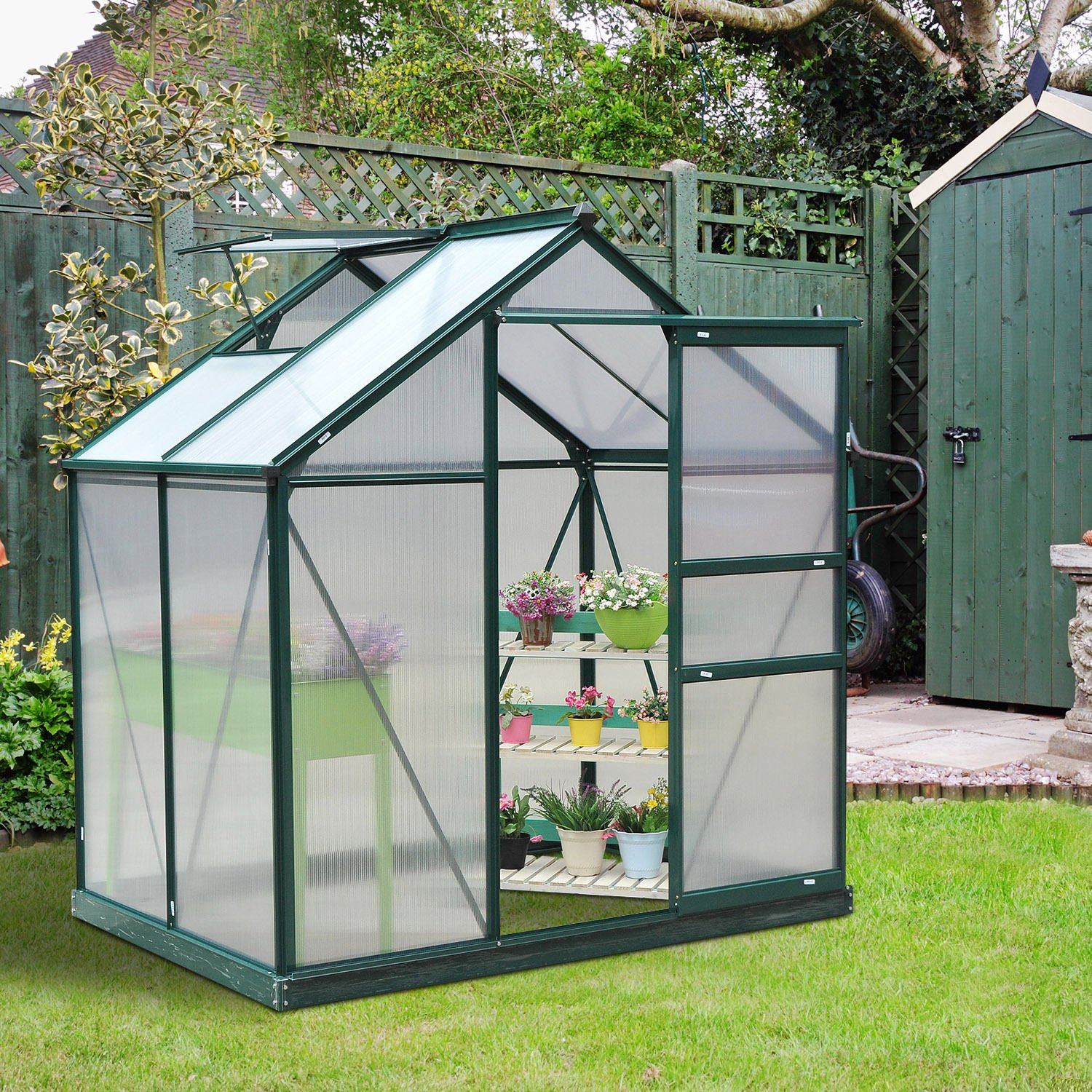 6ft x 4ft Outsunny Clear Polycarbonate Greenhouse Large Walk-In Green House Garden Plants Grow Galvanized Base Aluminium Frame w  Slide Door (6ft x 4ft)