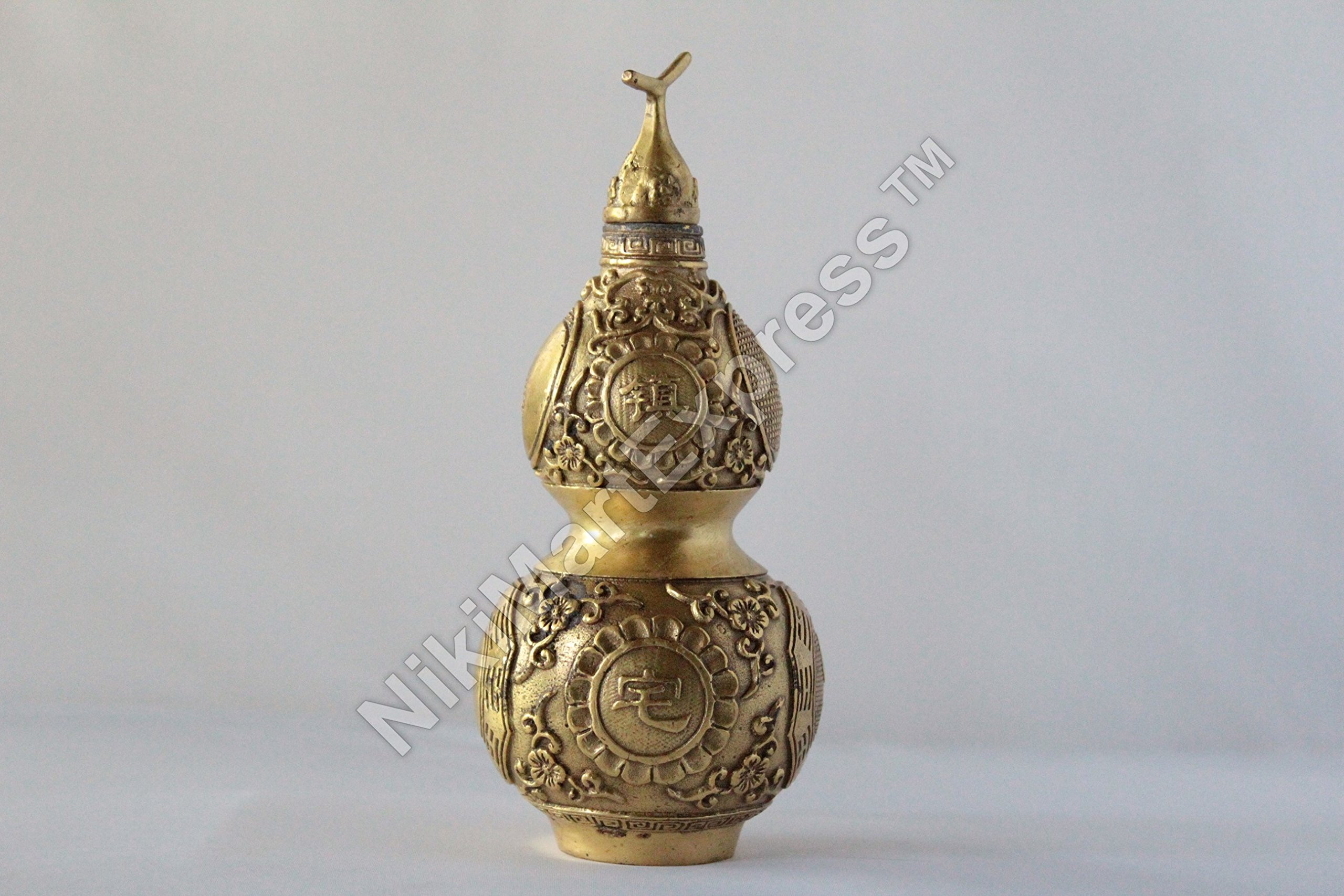 Vintage Chinese Real Brass Bagua Wu Lou | Hu Lu Gourd Feng Shui Home Protection for Good Health