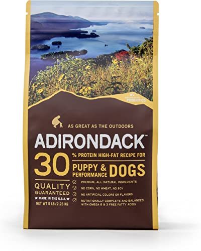 Adirondack Puppy Food For Puppies and Performance Dogs Made in USA High Protein Dog Food For All Breeds and Sizes , Chicken Meal Brown Rice Recipe