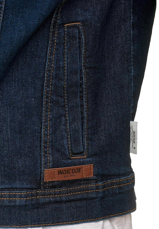 Indicode Herren Bryne Jeansjacke Denim Übergangsjacke mit Stehkragen aus hochwertiger Baumwollmischung Washed Out Stretch