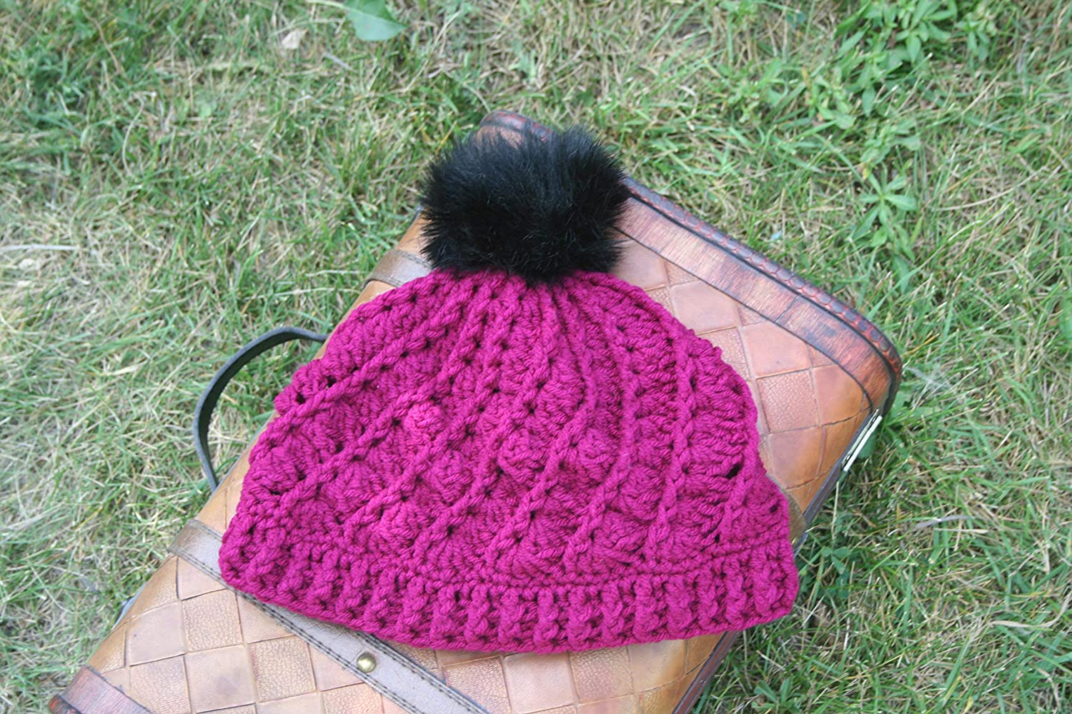 Amazon Crochet Spiral Beanie With Faux Fur Pom Pom Bright