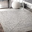 nuLOOM Lefebvre Braided Indoor/Outdoor Rug, 4' x 6', Light Grey