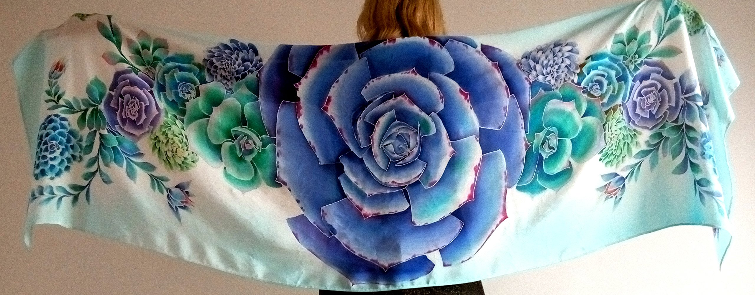 Hand Painted shawl Large Silk shawl Succulent Wedding shawl