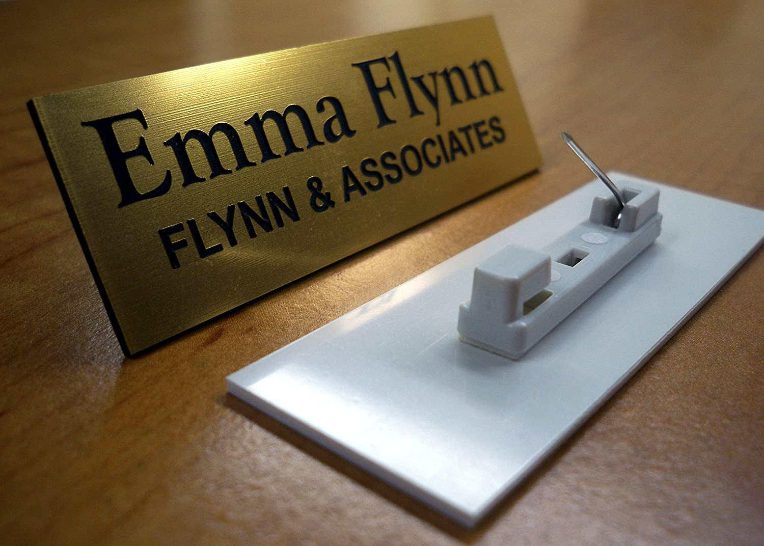 Custom Engraved 1x3 Brushed Gold Name Tag | Badge With Pin Closure |  Employee Identification Plate Sign Personalized
