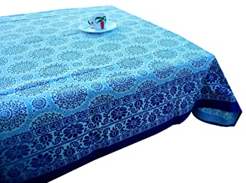 LinenTablecloth 60 X 86 Inch Rectangular Cotton Linen Tablecloth Indian  Spring Blue Color Table Cloth Thanksgiving