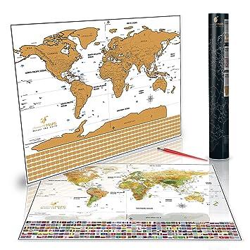 Amazoncom Scratch Off Maps Premium Laminated World Travel Map - Us scratch off map