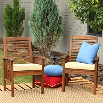 WE Furniture Solid Acacia Wood Patio Chairs, Set Of 2