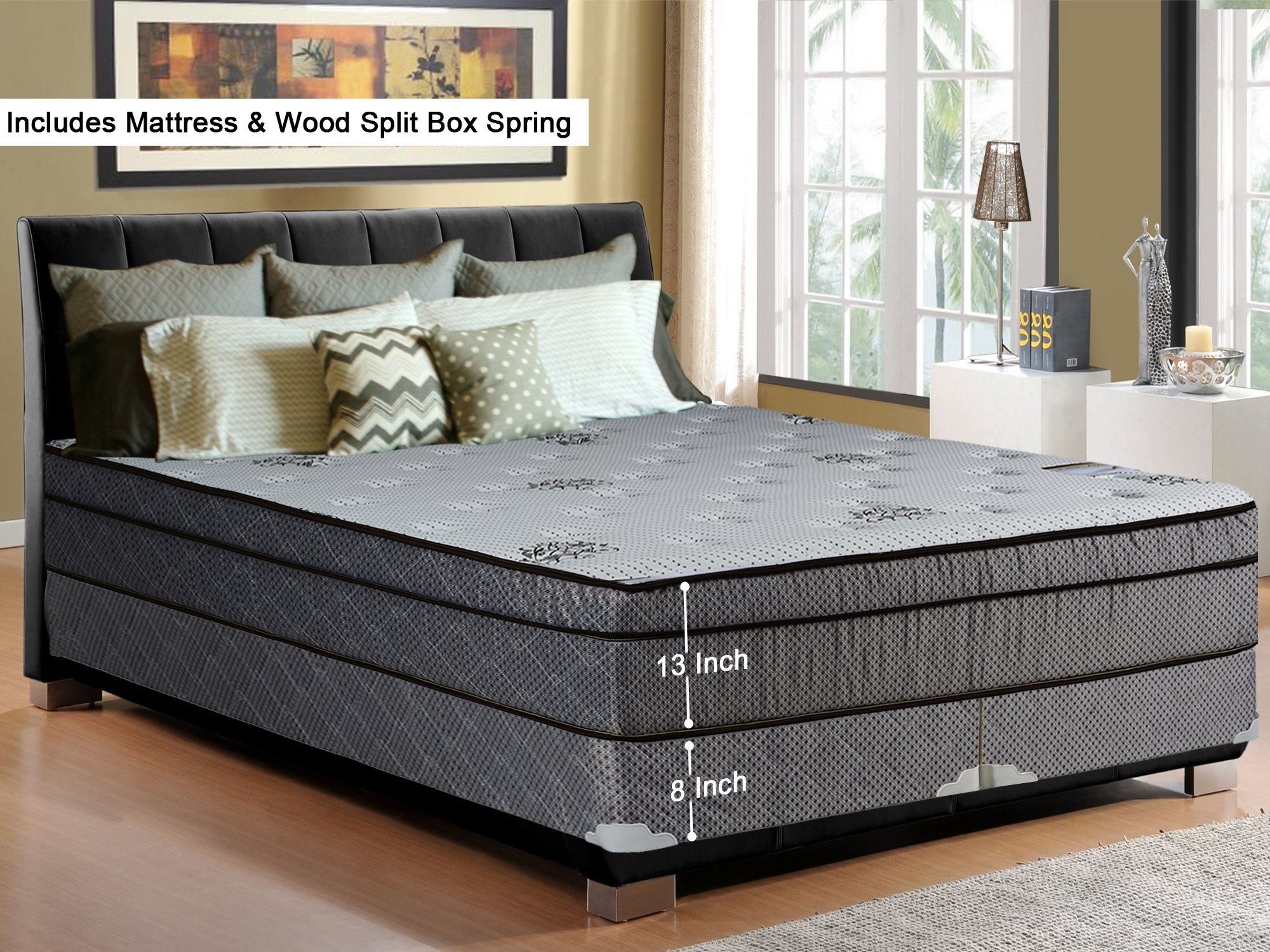 Continental Sleep, 13-Inch Soft Foam Encased Hybrid Eurotop Pillowtop Innerspring Mattress And Wood Traditional Box Spring/Foundation Set, King Size 79'' x 78''