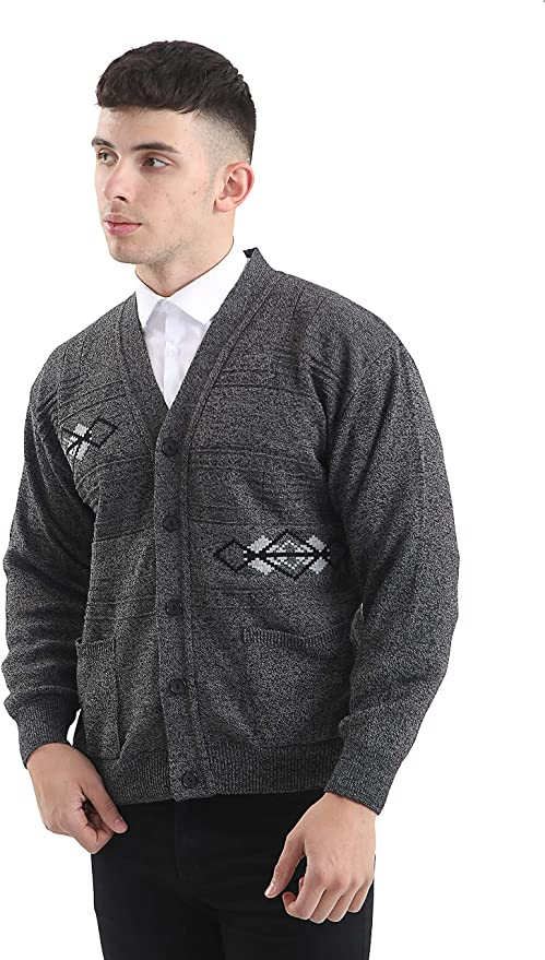 Men's Vintage Sweaters, Retro Jumpers 1920s to 1980s Mens Classic Cardigans Vintage Style Button and Zip Long Sleeve Argyle Pattern Cardigan £18.99 AT vintagedancer.com