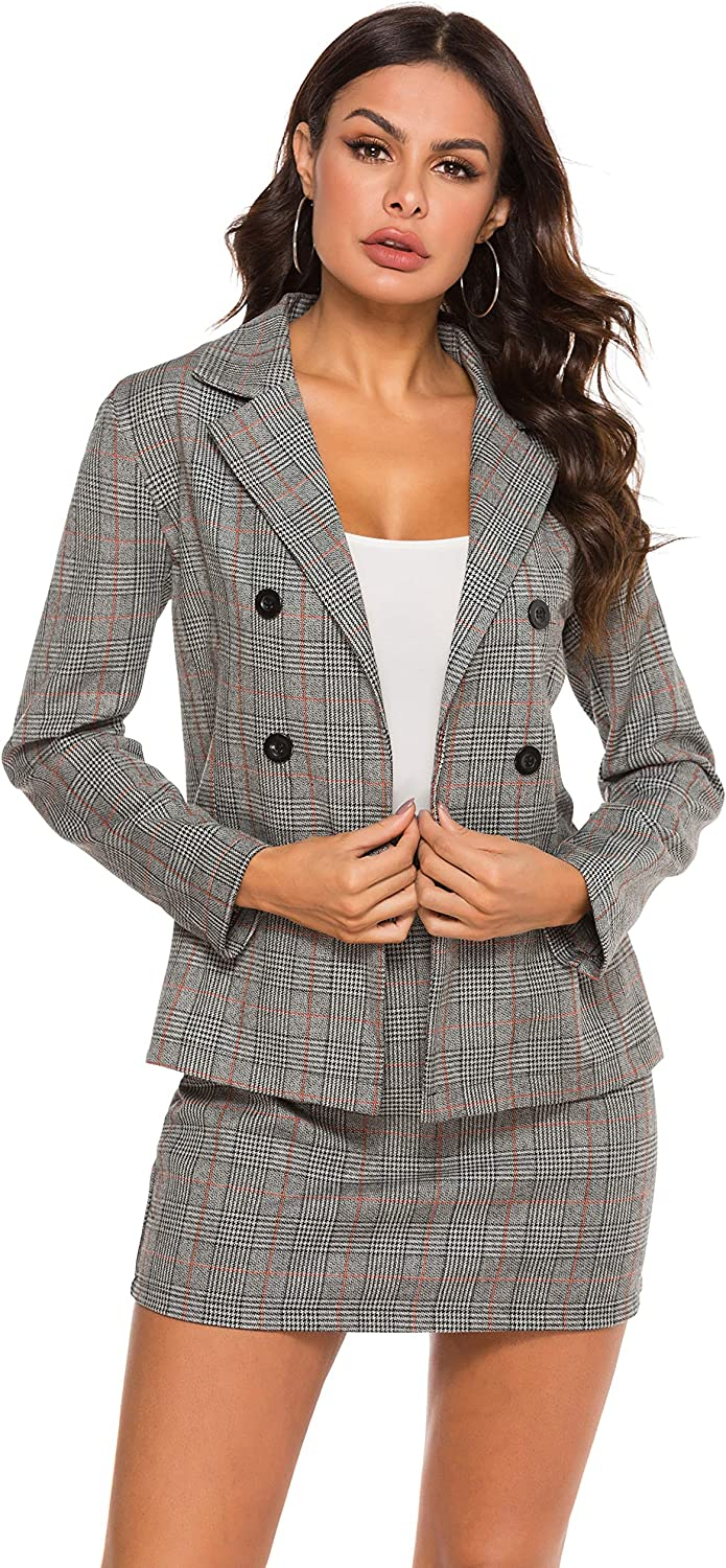 HUILAN Women's Casual Plaid Blazer and Skirts Set Two Piece Outfit