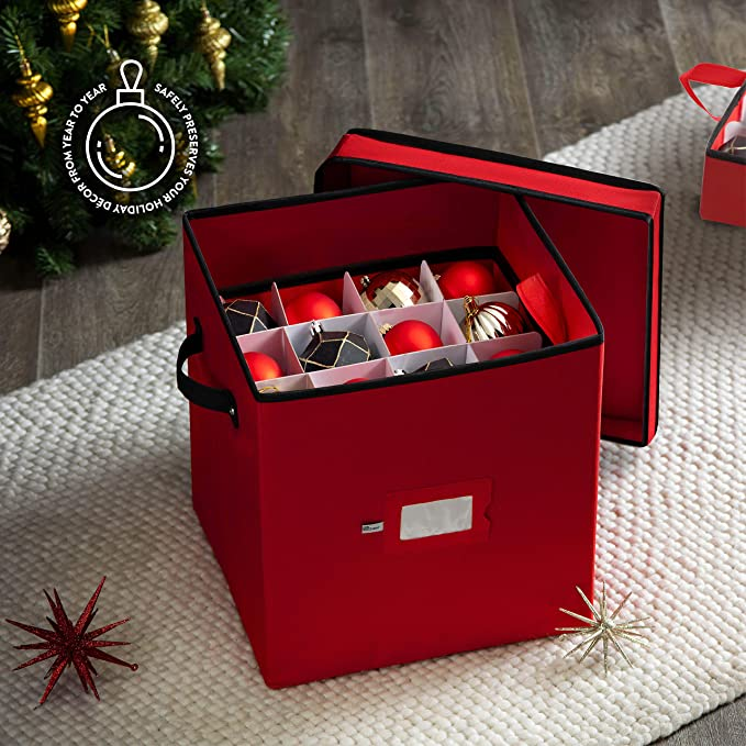 red1 Clacce Christmas Bauble Storage Bag Sturdy Box,Store Up to 64 Baubles Xmas Tree Ornaments/&Decorations Storage Container Designed for Delicate Christmas Decorations,Zip Closure and Side Handle