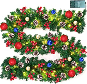 TURNMEON 9 FT Christmas Garland Decor with Lights Glitter Ball Ornaments, Battery Operated Xmas Garland Wreath with 280 Thick Branch 90 Red Berry Pine Cone,Indoor Outdoor Home Christmas Decor (Red)