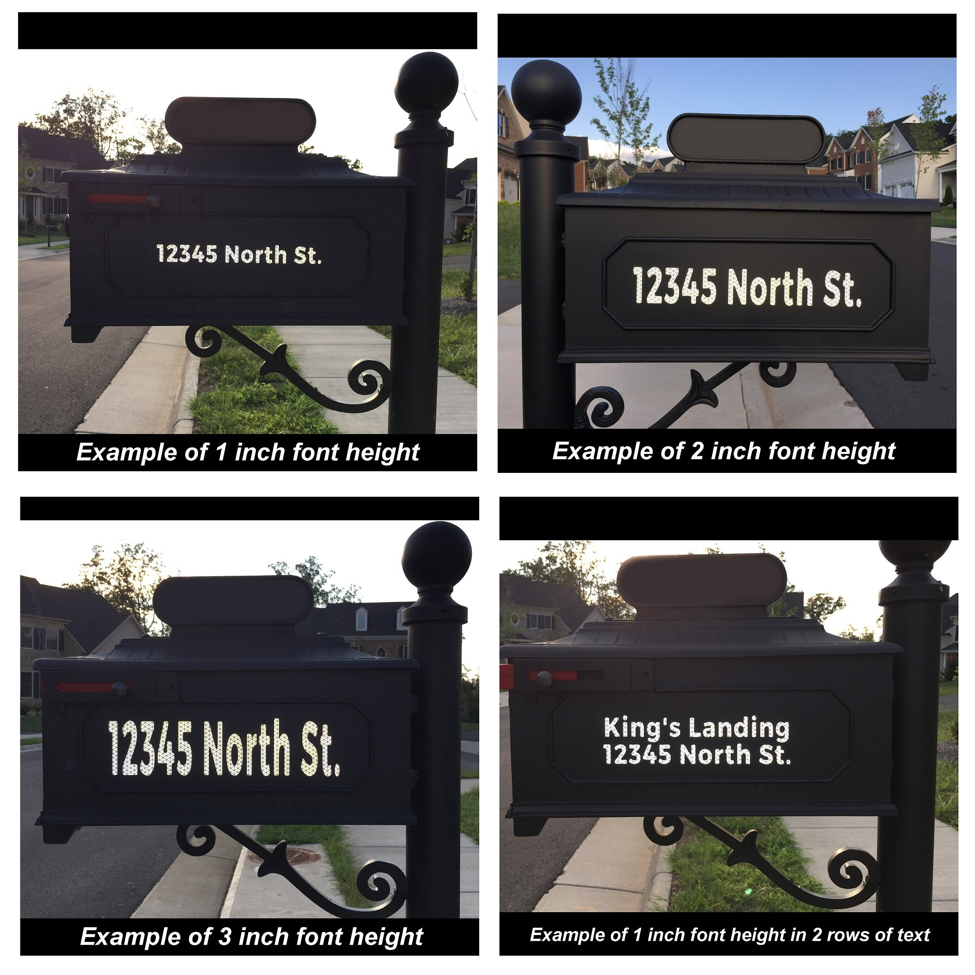 customTAYLOR33 High Intensity Grade Reflective Custom Mailbox Letters Numbers - Houses, Apartments, Condos, Businesses (3 inch font height, 1 row of text) by customTAYLOR33 (Image #4)
