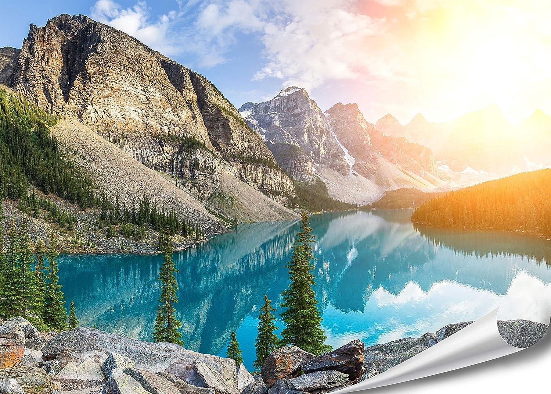 PMP-4life Wand-Bild Bergsee in Kanada | 140x100cm | hochauflösendes Gebirgssee-Poster XXL, Natur Poster, großes Fotoposter Wand-Dekoration | PMP 4life.