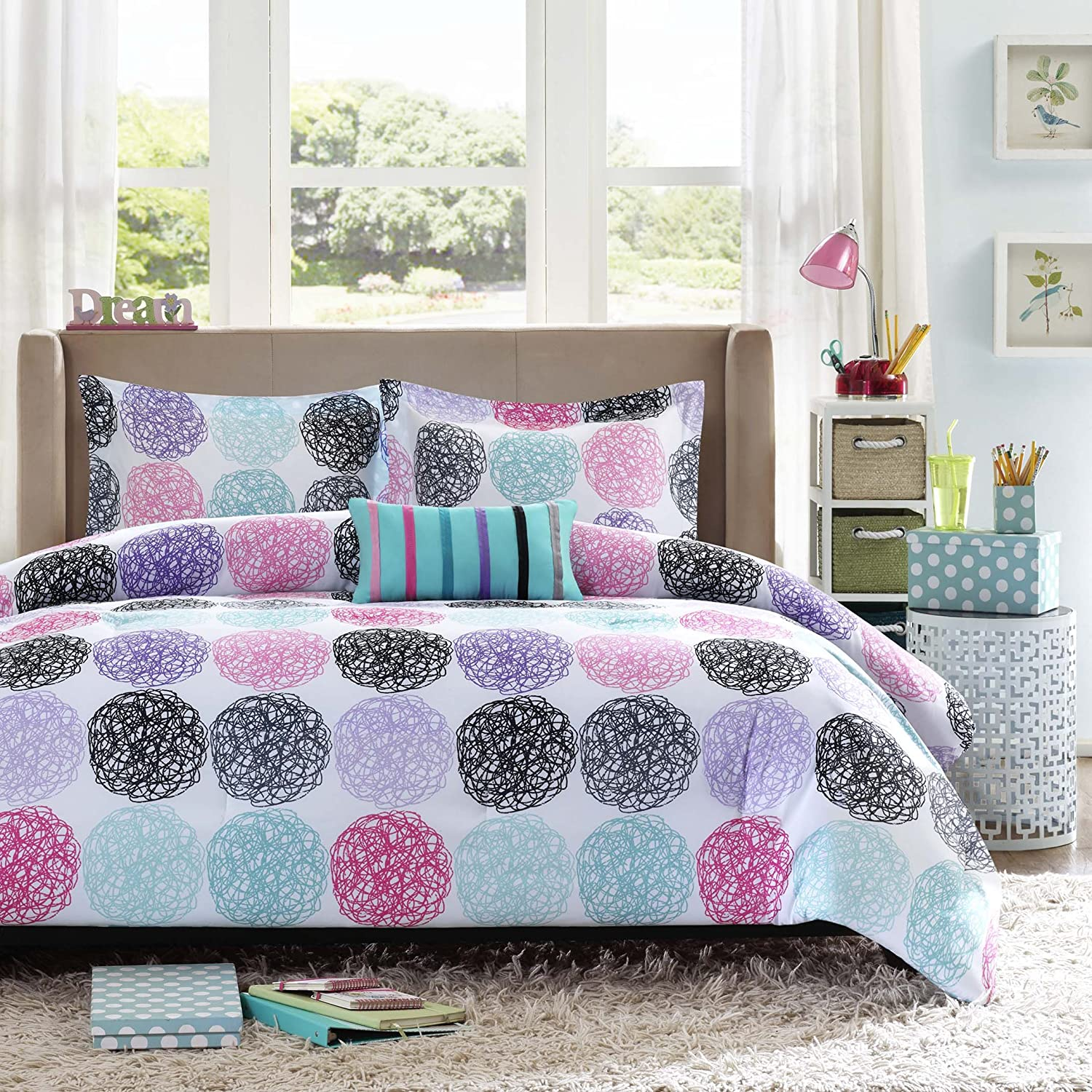 Amazon.com: Mi Zone   Carly Comforter Set   Purple   Twin/ Twin XL    Doodled Circles, Polka Dots U0026 Twill Tapes   Includes 1 Comforter, 1  Decorative Pillow, ...