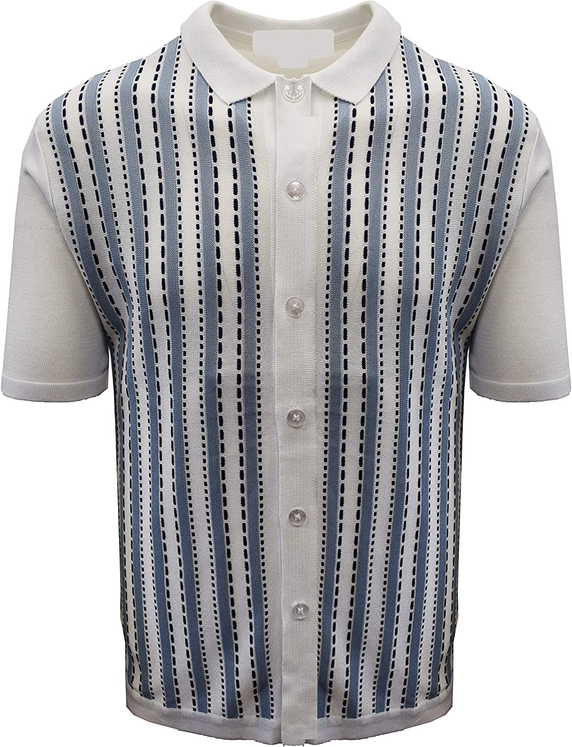 SAFIRE SILK INC. Edition-S Men's Short Sleeve Knit Shirt- Vertical Line with Saddle Stitch Accents