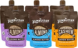 product image for Nut Butter Best Seller Variety Pack by Yumbutter, Superfood Almond Butter, Superfood Cashew Butter, and Protein Almond Butter, Gluten Free, Vegan, Non GMO, 6.2 oz Pouch (Pack of 6)