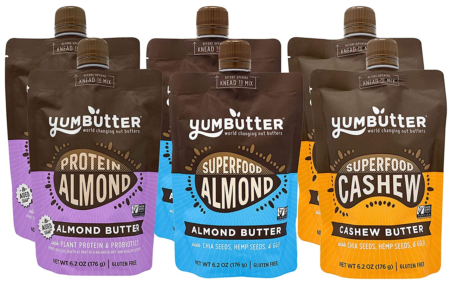 Nut Butter Best Seller Variety Pack by Yumbutter, Superfood Almond Butter, Superfood Cashew Butter, and Protein Almond Butter, Gluten Free, Vegan, Non GMO, 6.2 oz Pouch (Pack of 6)