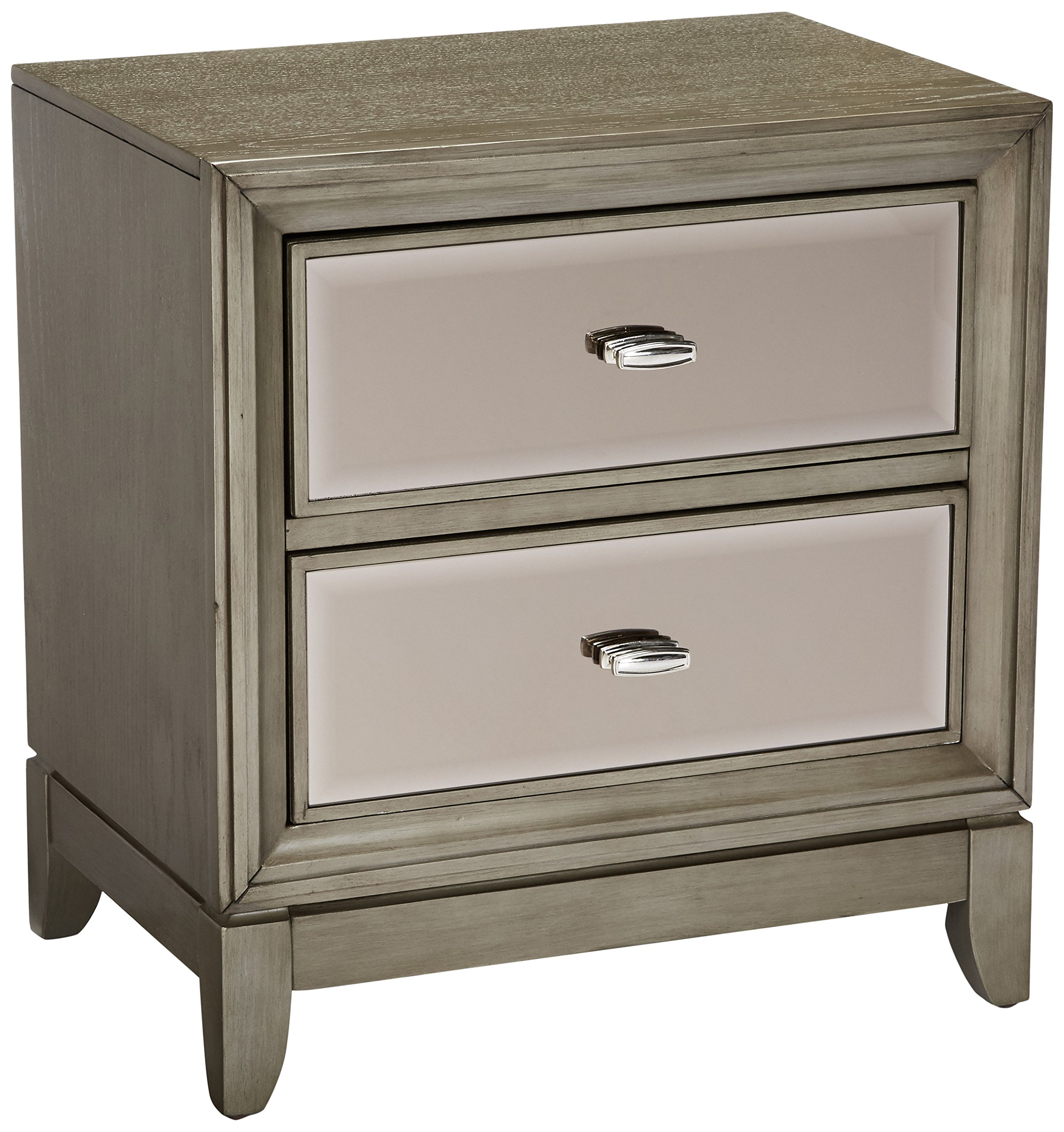 24/7 Shop at Home 247SHOPATHOME IDF-7295SV-N, nightstand, Silver - Materials: solid wood, veneer & Glass Colour: Silver Finish/ gold-tinted mirror in drawer panels Features spacious drawers - nightstands, bedroom-furniture, bedroom - 91RgNJgWI1L -