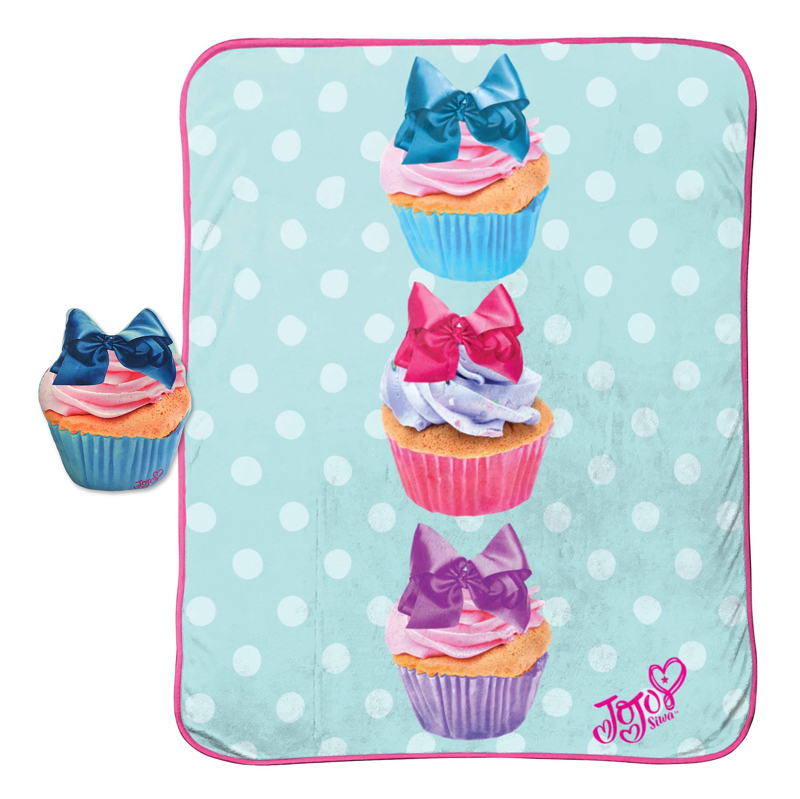 Jojo Siwa Throw Blanket and Cupcake Pillow Set