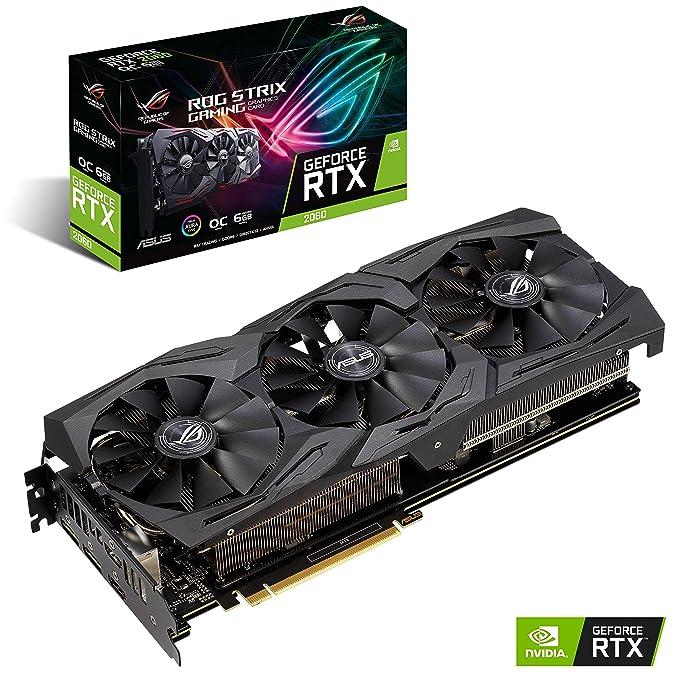 ASUS ROG -STRIX-RTX2060-O6G-GAMING GeForce RTX 2060 6 GB GDDR6 - Tarjeta gráfica (GeForce RTX 2060, 6 GB, GDDR6, 192 bit, 14000 MHz, 7680 x 4320 Pixeles)