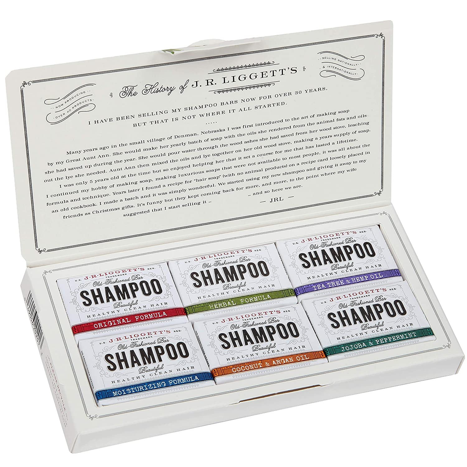 J·R·LIGGETT'S All-Natural 6 Variety Shampoo Bars .65oz. Sampler Pack, Support Strong and Healthy Hair-Nourish Follicles with Antioxidants and Vitamins-Detergent and Sulfate-Free, 6 Mini Shampoo Bars