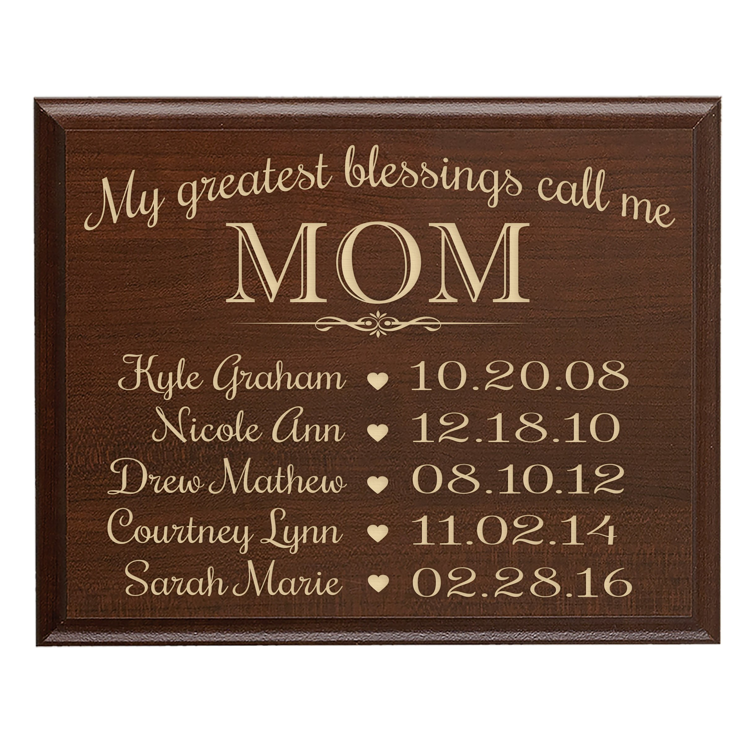 LifeSong Milestones Personalized Gifts for Mom with Family Established Year Wall Plaque with Children's Names and Dates to Remember My Greatest Blessings Call me Mom (12x15, Cherry) by LifeSong Milestones (Image #1)