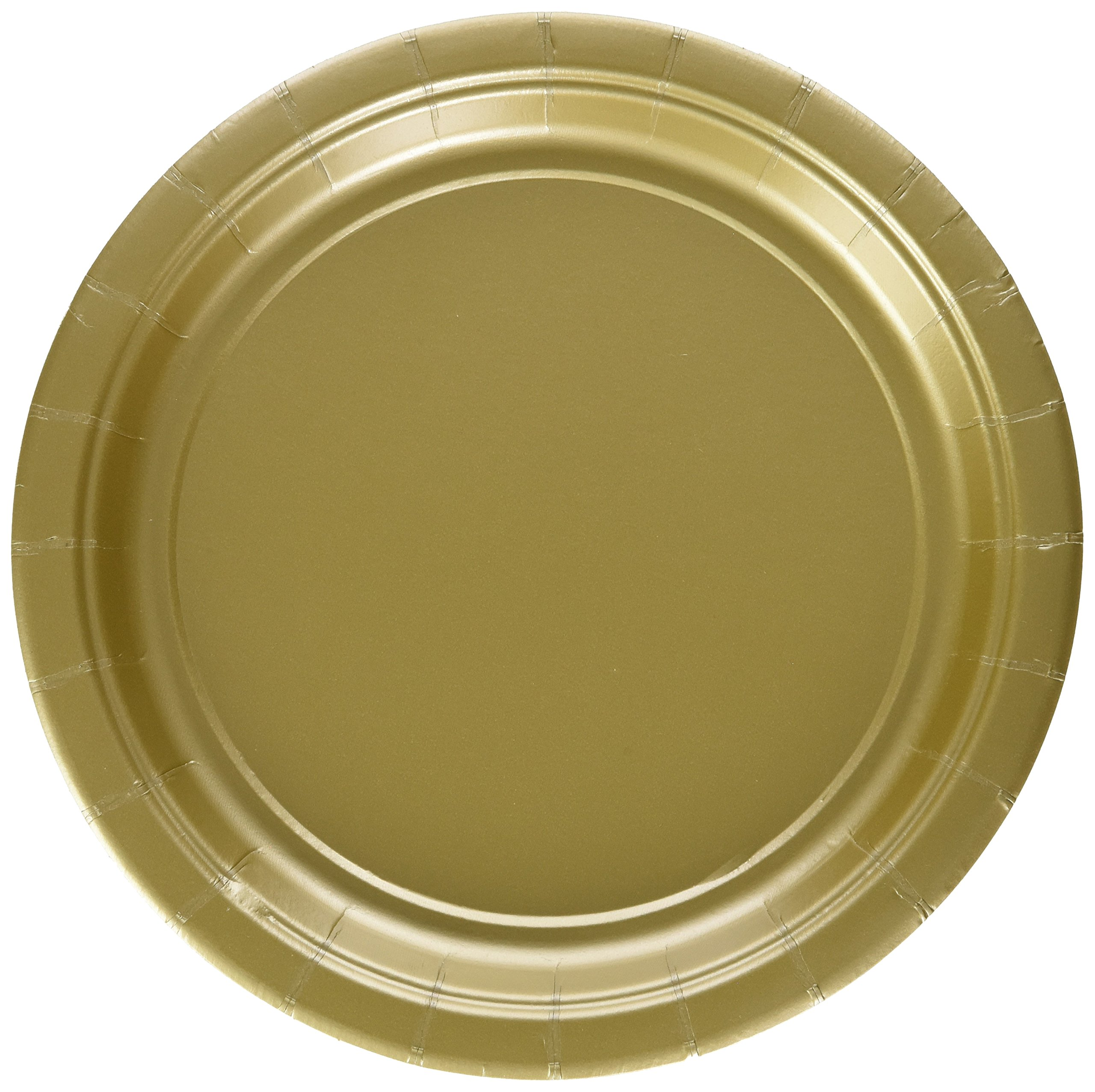 Amscan Durable Round Dessert Plates Big Bundle Party Tableware Paper, 7'', Pack of 50 Childrens, Gold, 7''