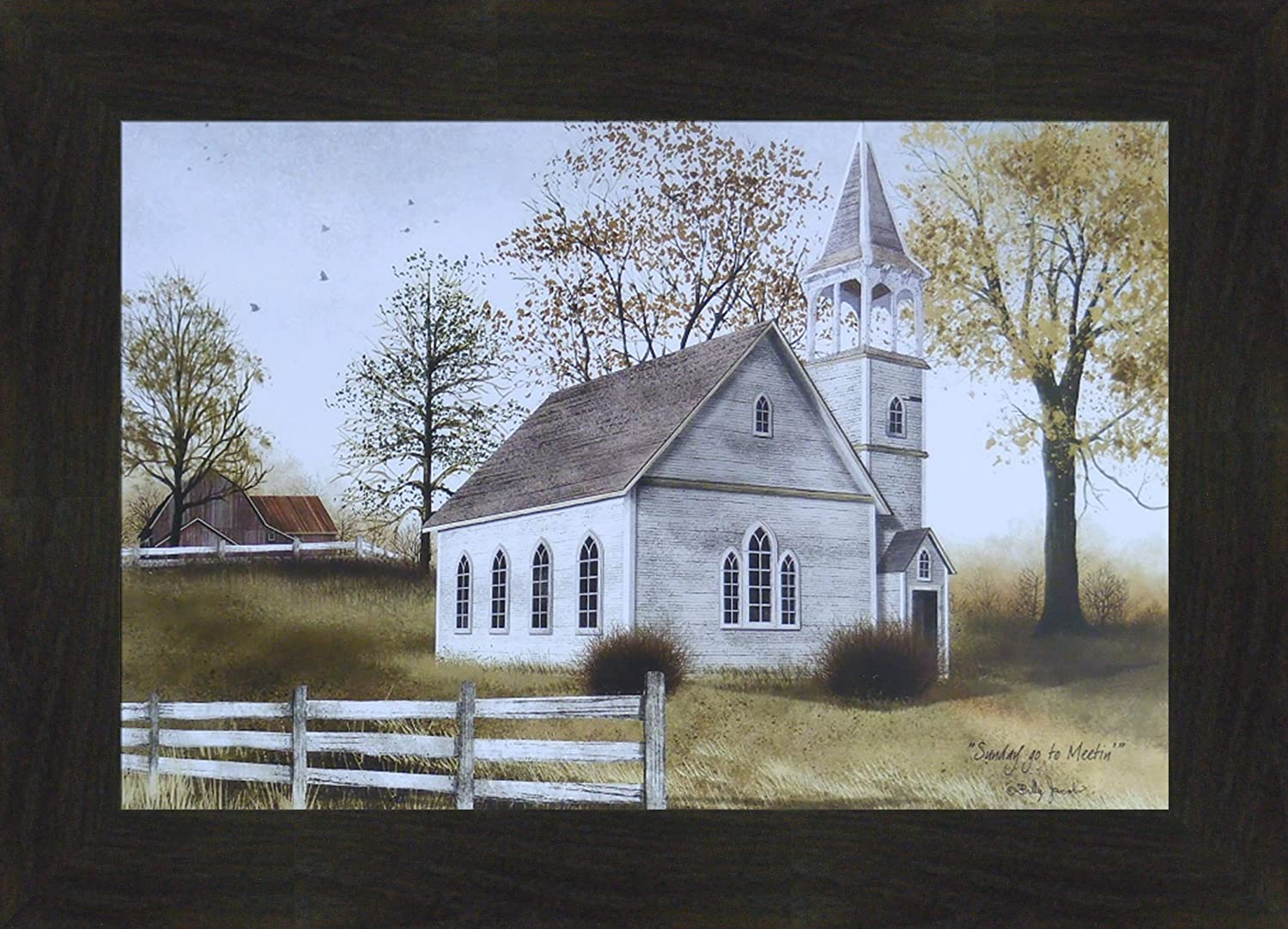 Sunday Go to Meetin' by Billy Jacobs 16x22 Country Church Folk Art Print Wall Décor Picture (2
