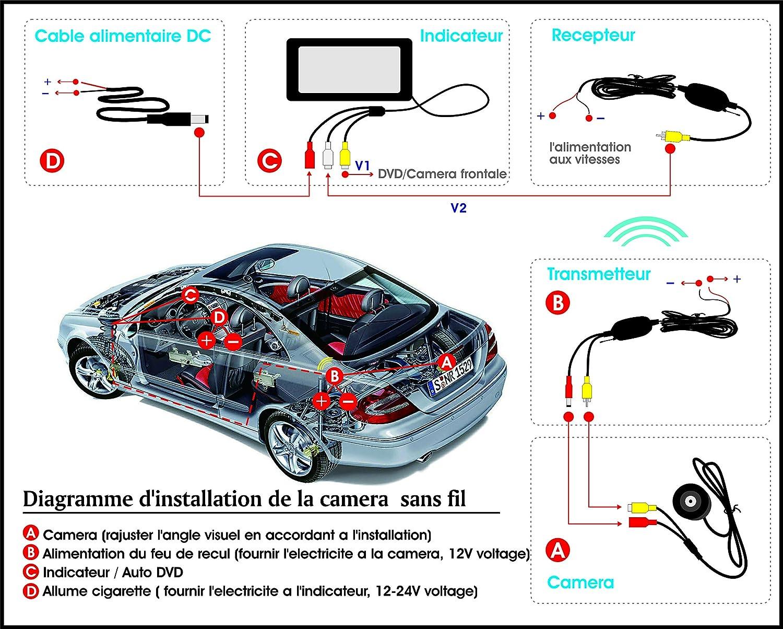 L/émetteur r/écepteur sans Fil Pathson Europ/éenne Plaque dimmatriculation Voiture Cam/éra de Recul avec 170/°Angle Vision de Nuit 4 IR Lampes Etanche