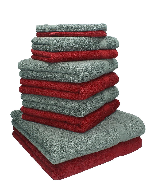 Betz. Set di 10 asciugamani di spugna Premium 2 asciugamani da doccia 4 asciugamani 2 asciugamani per ospiti 2 guanti da bagno colore rosso scuro e grigio antracite