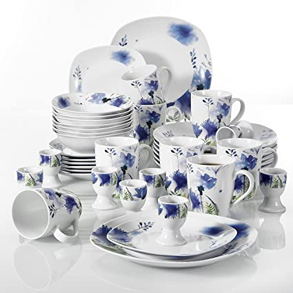 VEWEET 40-Piece Porcelain Dinnerware Sets Livingware Purple Flower Pattern Plate Sets Service for  sc 1 st  Amazon.com & Amazon.com | VEWEET 40-Piece Porcelain Dinnerware Sets Livingware ...