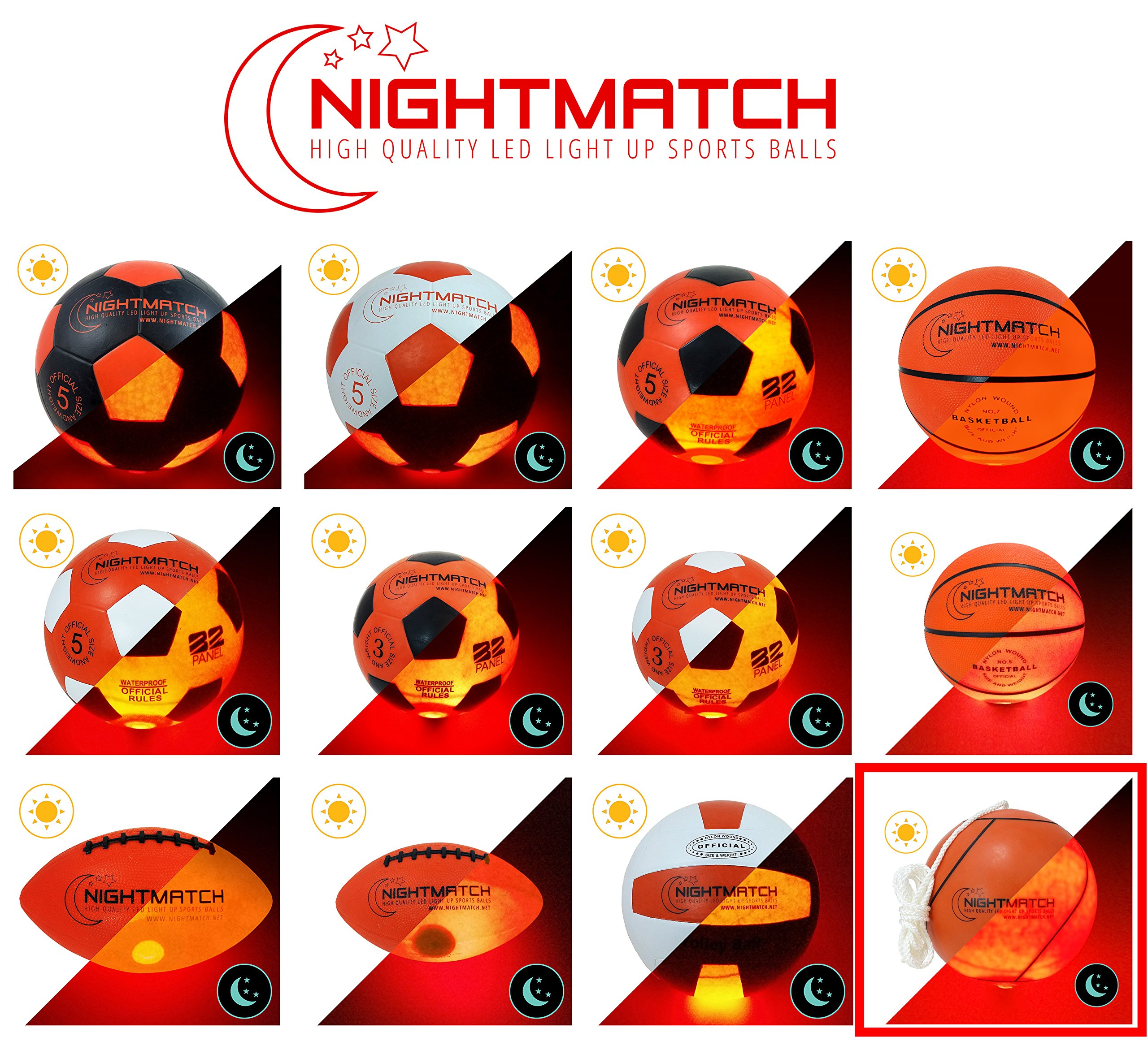 NIGHTMATCH Light Up Tetherball INCL. Ball Pump & Spare Batteries - Inside LED Lights up When Bounced - Glow in The Dark Tetherball - Tether Ball - Official Size & Weight by NIGHTMATCH (Image #7)