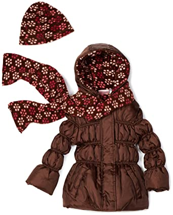 7cf12f201087a Amazon.com: Pink Platinum Little Girls' Solid Puffer with Floral Printed  Lining Outerwear, Brown, 3T: Down Alternative Outerwear Coats: Clothing