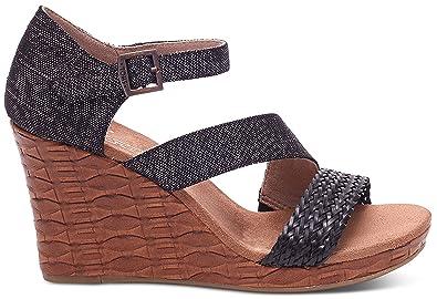 13e97835662 TOMS Women s Clarissa Wedge Black Metallic Linen Embossed Sandal 12 B ...