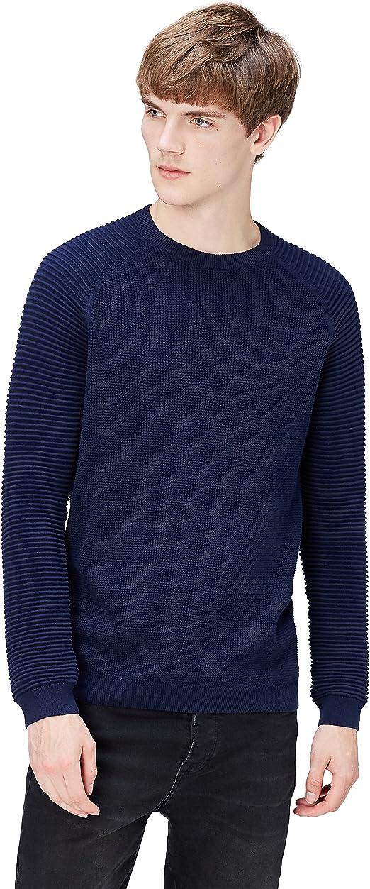 TALLA M. Marca Amazon - find. Jersey con Texturas Combinadas para Hombre