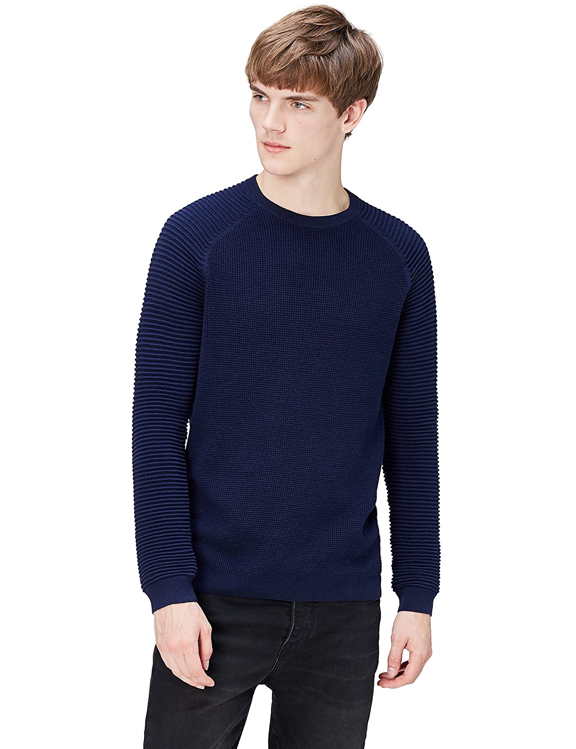 FIND Men's Contrast Chunky Stitch Jumper PHRM2370