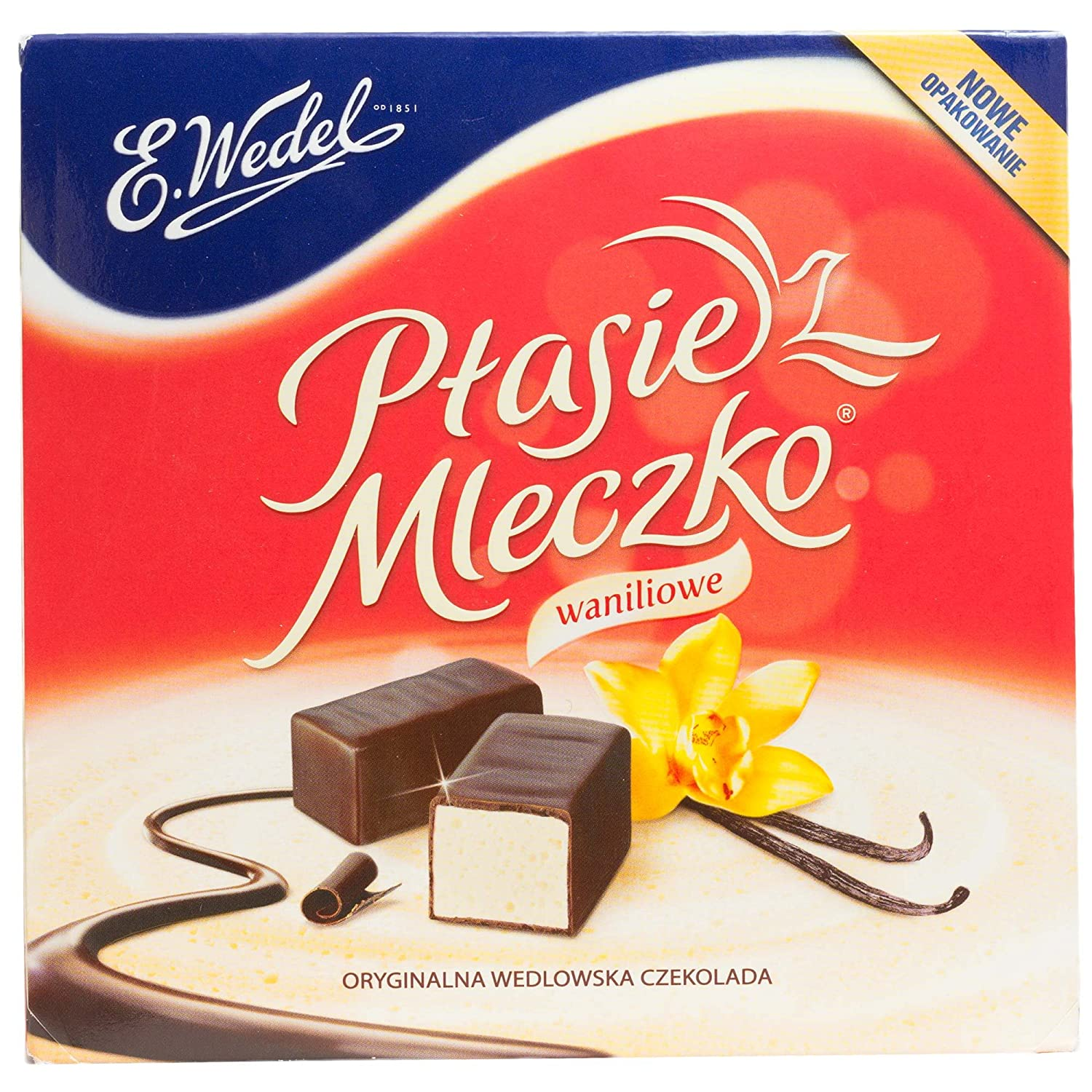 Ptasie Mleczko Chocolate Covered Vanilla Marshmallow (birds milk chocolate), 13.4 Oz. Wedel