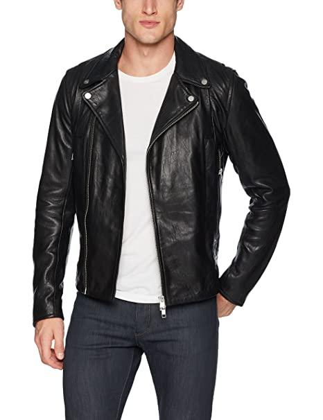 Amazon.com: J.Lindeberg Moto - Chaqueta de piel para hombre ...