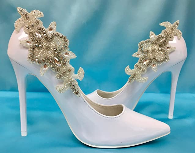 1c78b81cc0 Amazon.com: Crystal Wedding Shoe Clips, Rhinestone Bridal Shoe Clips,  Formal Gown Accessory: Handmade