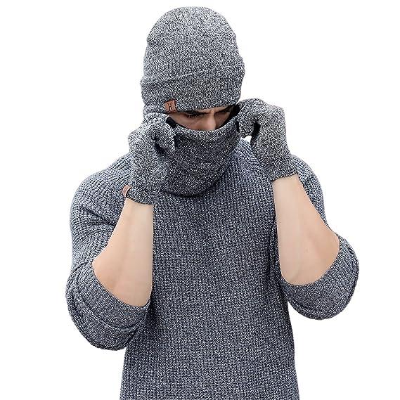 254e9cd5c1537 Bonnet Homme Hiver + Écharpe + Gants d'écran Tactile, Ensemble de 3  Vêtements