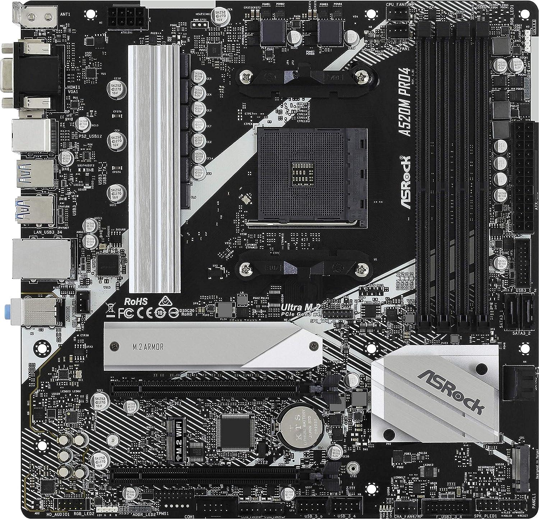 ASRock A520M Pro4 mATX - Scheda madre socket AM4 M.2/HDMI/DP/D-Sub/USB3.2 90-MXBDU0-A0UAYZ