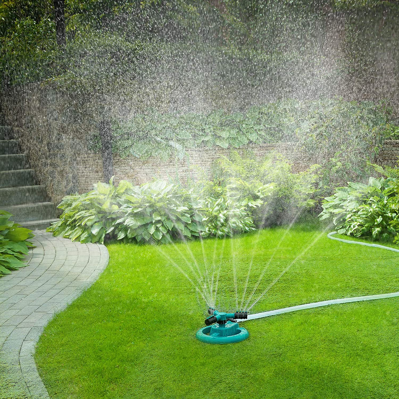 GOLDFLOWER Garden Sprinkler, Adjustable 360 Degree Rotation Lawn Sprinkler, Large Area Coverage, Multipurpose Yard Sprinklers for Plant Irrigation and Kids Playing