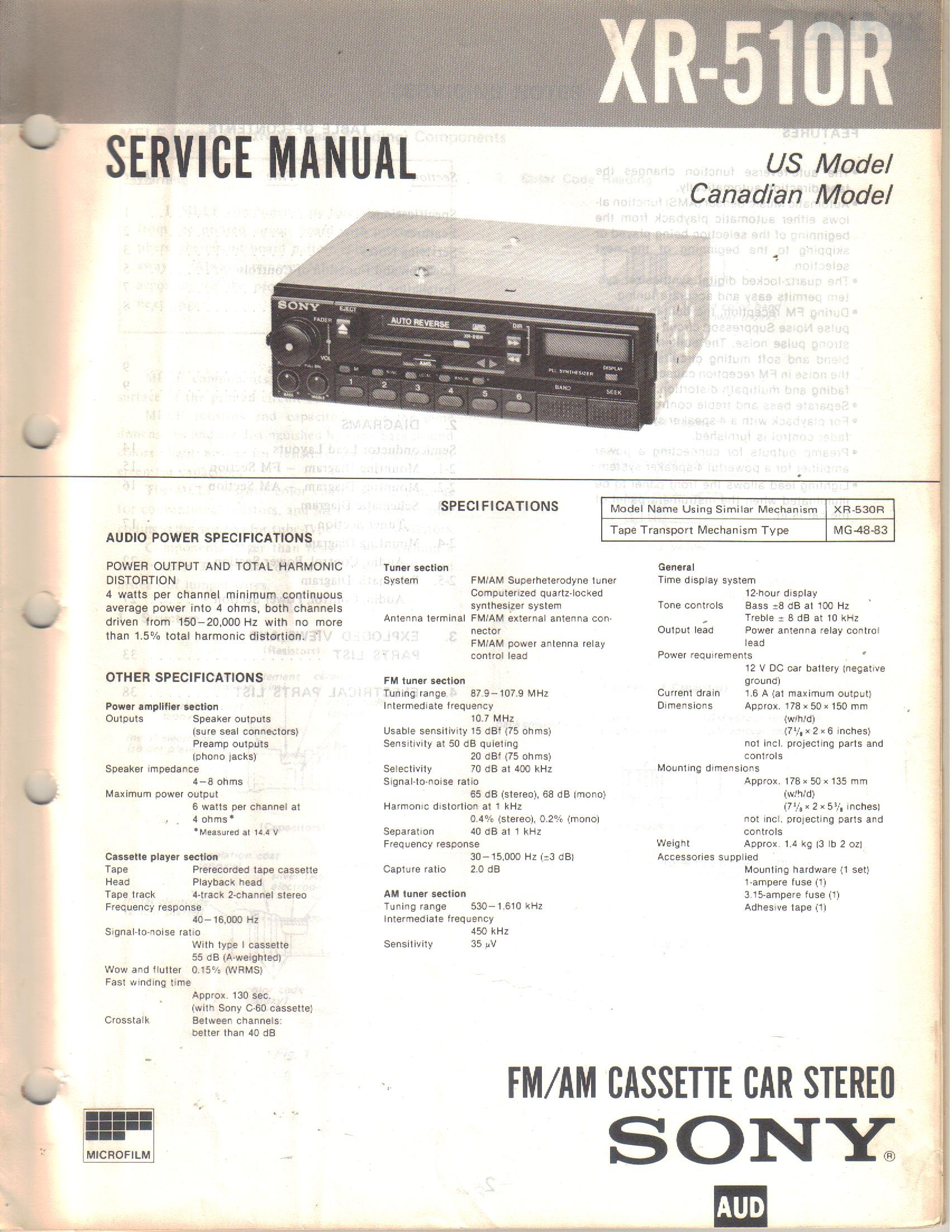 Sony Car Radio Manuals Mex Bt3700u Wiring Harness Array Xr 510r Am Fm Cassette Stereo Service Manual Us And Rh Amazon