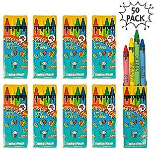 50 Cajas de 4 Ceras de Colores Para Niños Piñatas, Regalitos y Detalles Cumpleaños, Crayones De Cera Para Artes Y Manualidades, Actividades De Interior Para Horas De Diversión Y Aprendizaje: Amazon.es: Oficina