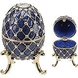 Large Blue Ornate Egg Treasured Trinkets Keepsake Box Juliana