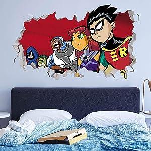 Teen Titans Battle Wall Decals Custom Sticker Vinyl Peel and Stick Art Nursery Baby Room Decor JO125 (Small 22 W x 14 H Inches)